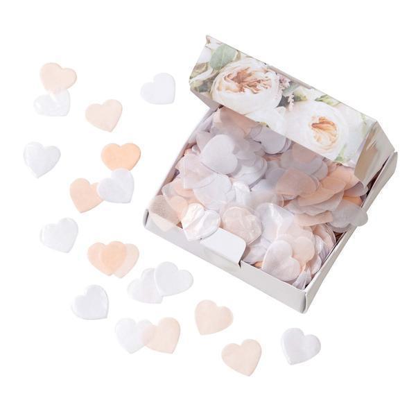 Talking Tables Papírové konfety Pastel Romance, růžová barva, bílá barva, papír