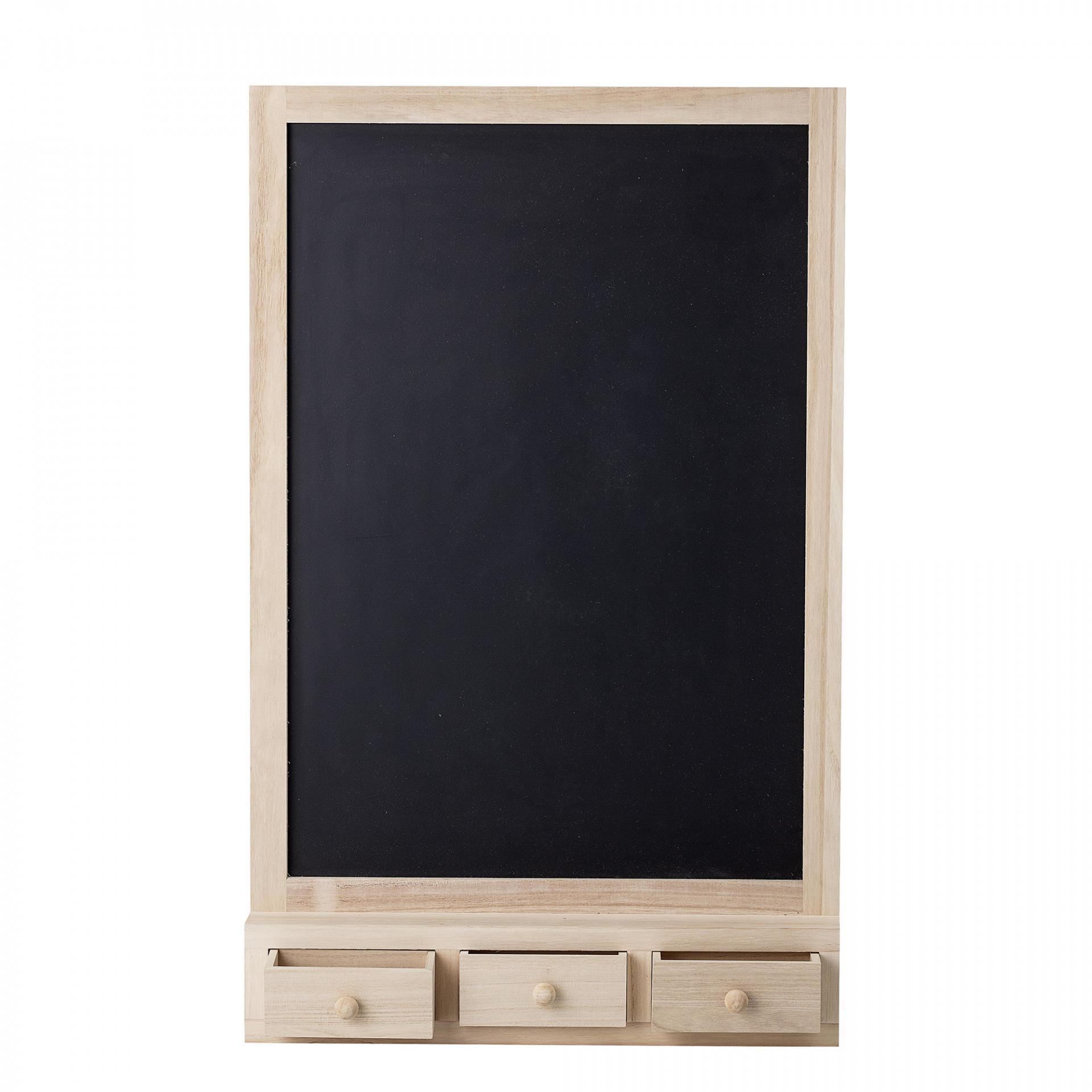 Bloomingville Dětská černá tabule Paulownia, černá barva, přírodní barva, dřevo