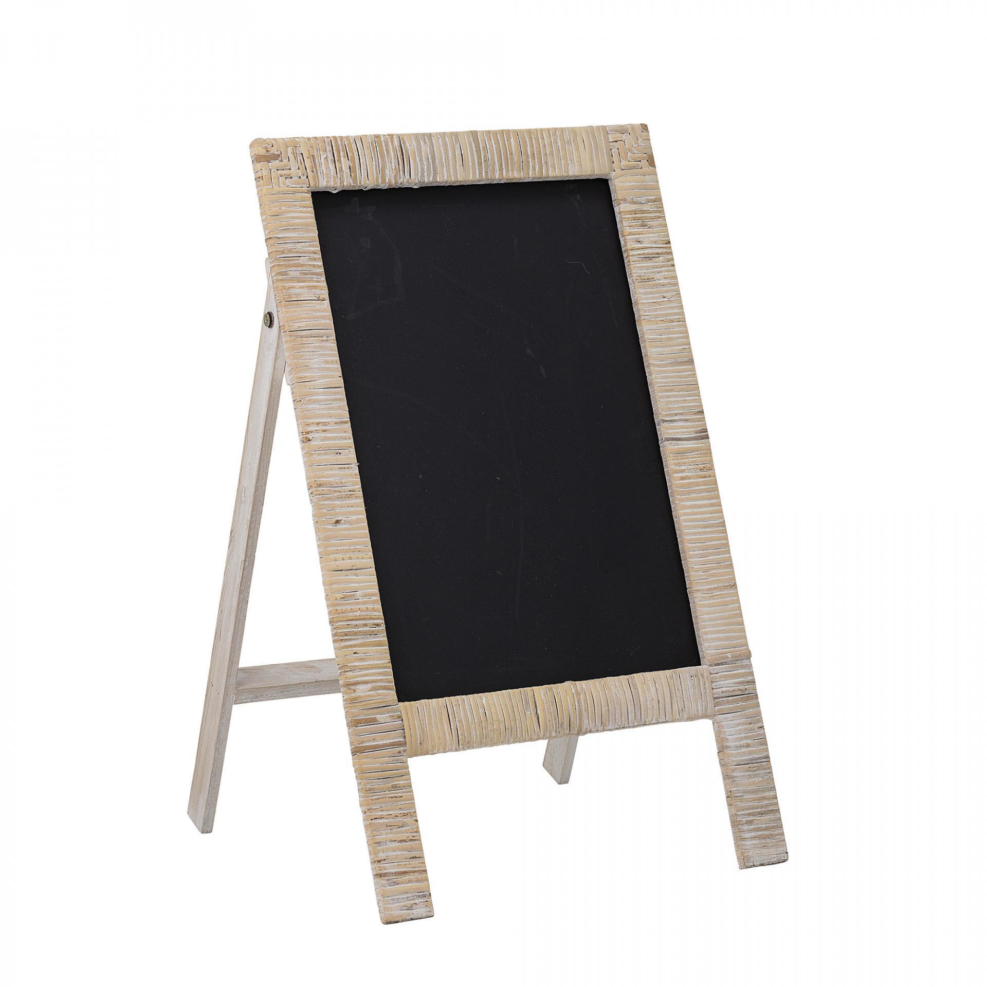 Bloomingville Dětská černá tabule Nature Rattan, černá barva, bílá barva, přírodní barva, dřevo, kov