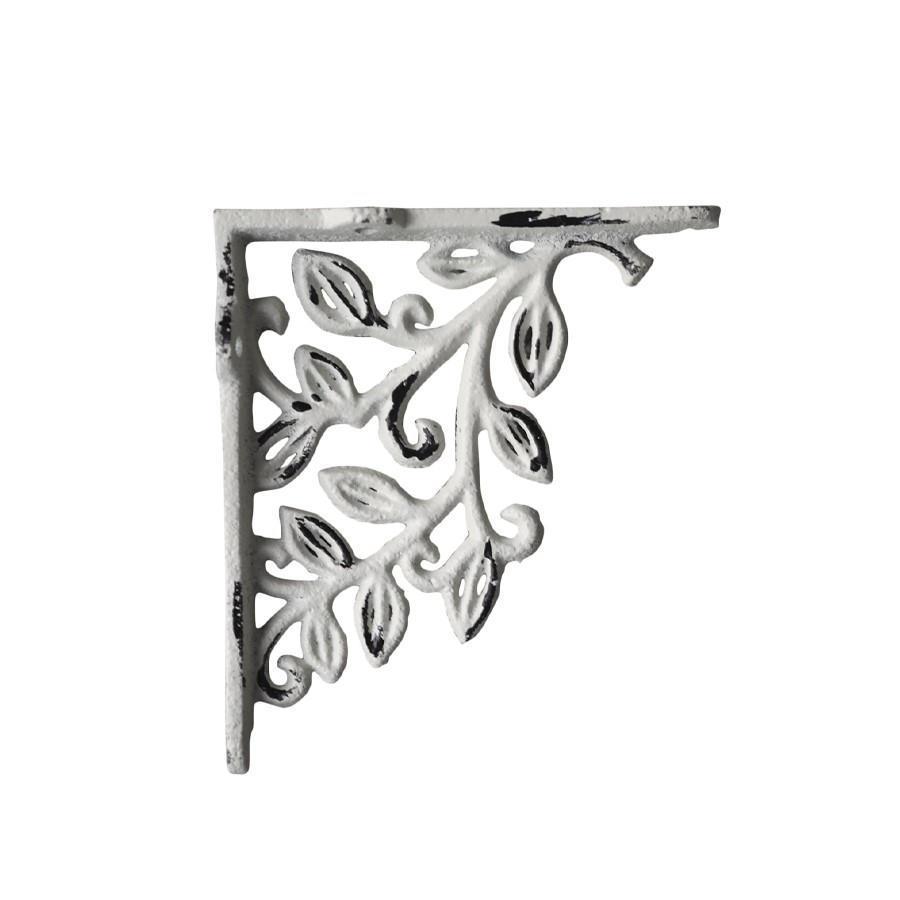 Chic Antique Kovová konzole Flower Decor, šedá barva, bílá barva, kov