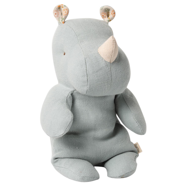 Maileg Textilní nosorožec Rhino Blue/Grey Small, modrá barva, šedá barva, textil