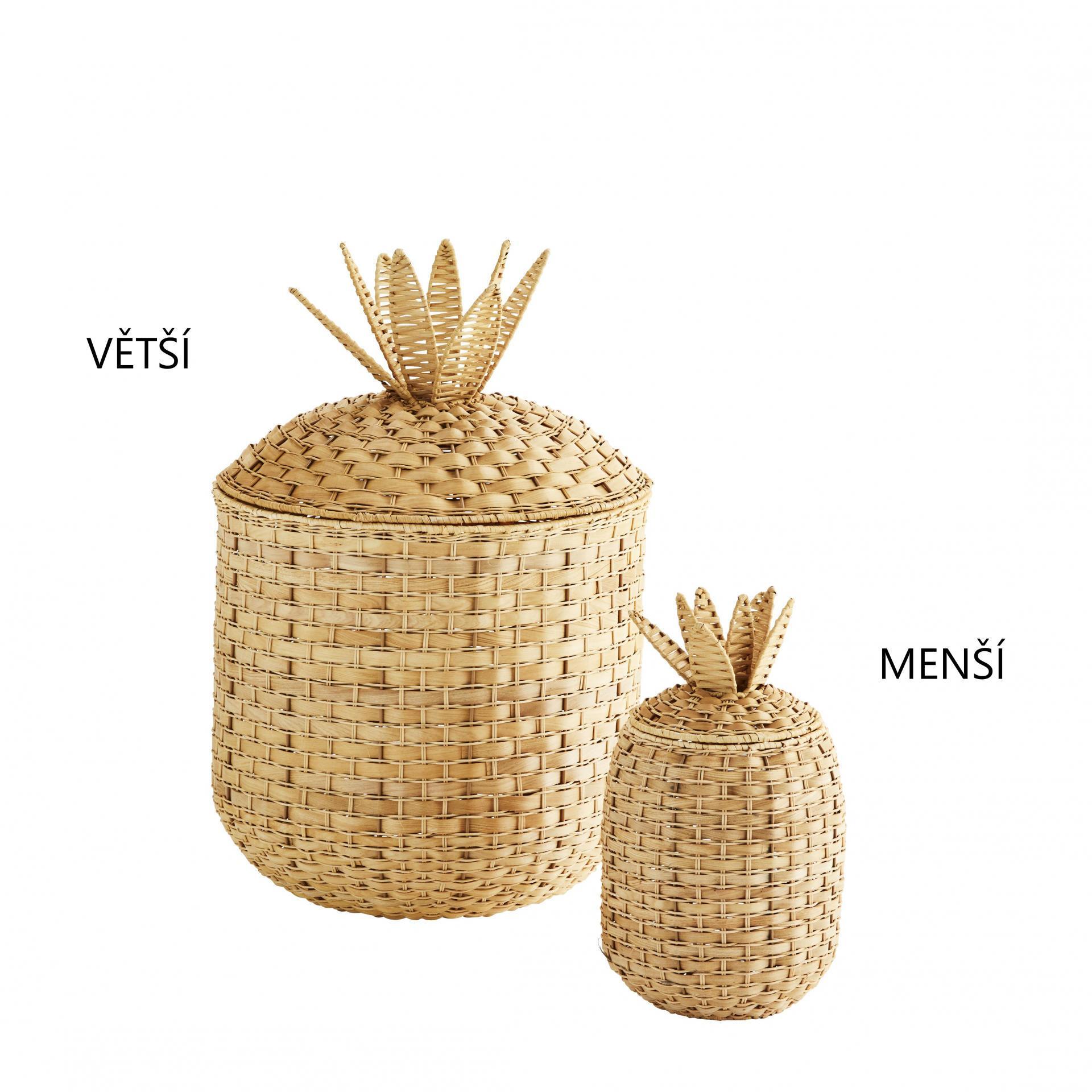 MADAM STOLTZ Ratanový koš Pineapple Menší, přírodní barva, proutí