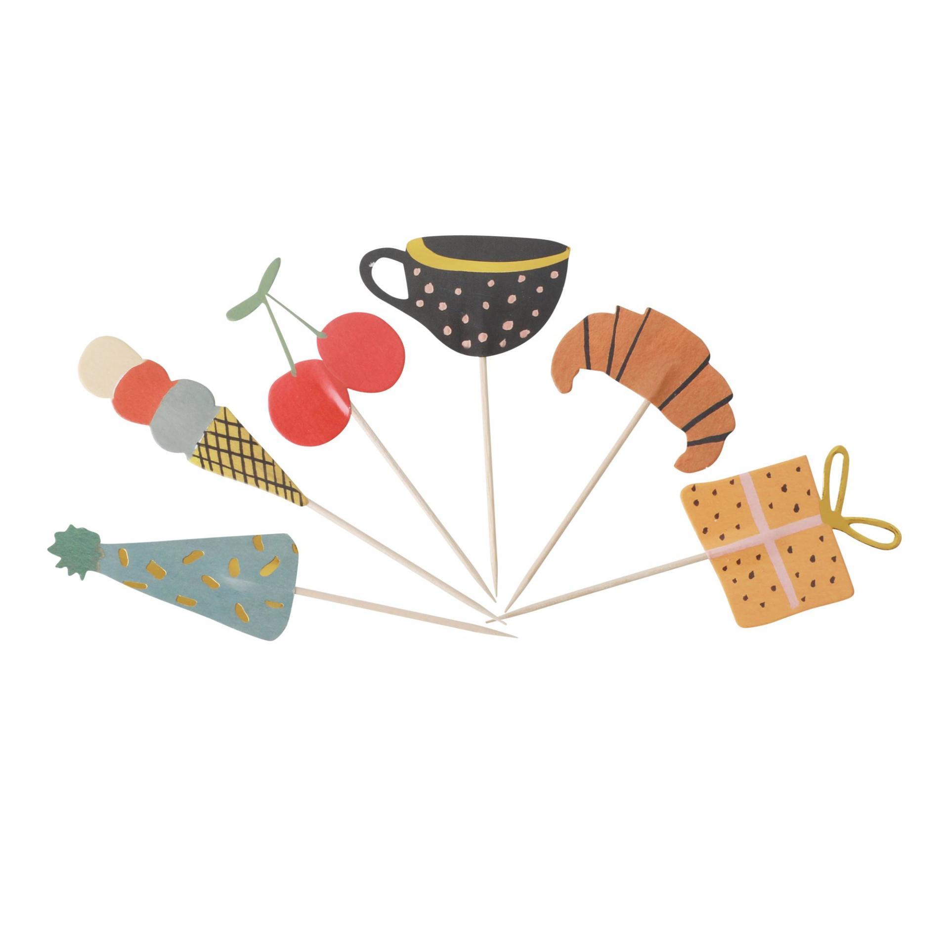 rice Party napichovátka Celebrate - 24 ks, multi barva, dřevo, papír