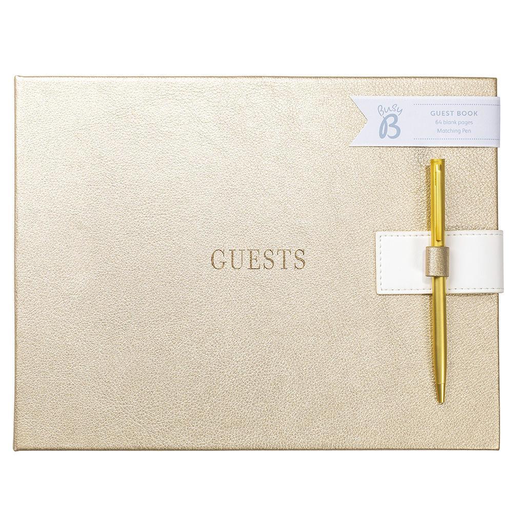 Busy B Svatební kniha hostů Gold Faux, zlatá barva, papír