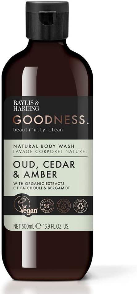 Baylis & Harding Sprchový gel Oud, Cedar & Amber 500ml, zelená barva, plast