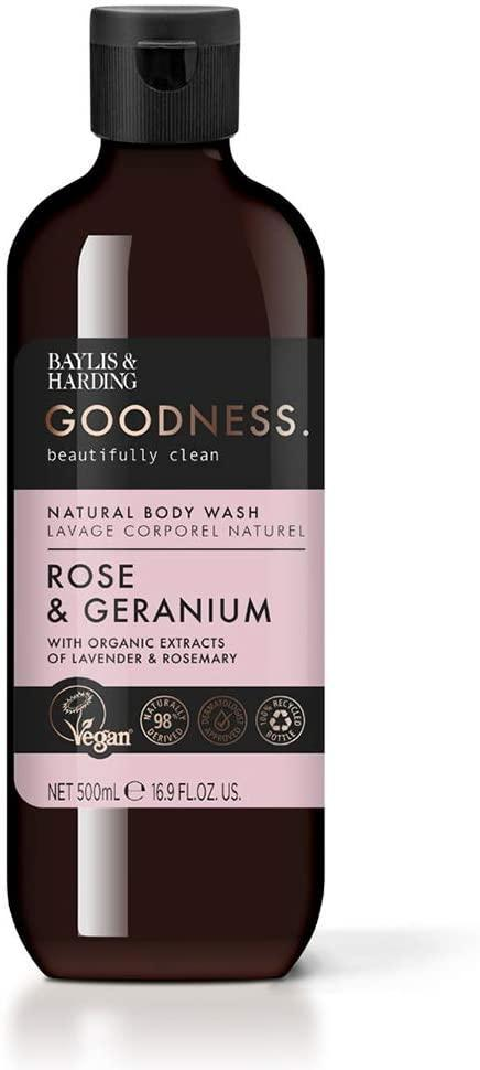 Baylis & Harding Sprchový gel Rose & Geranium 500ml, růžová barva, plast