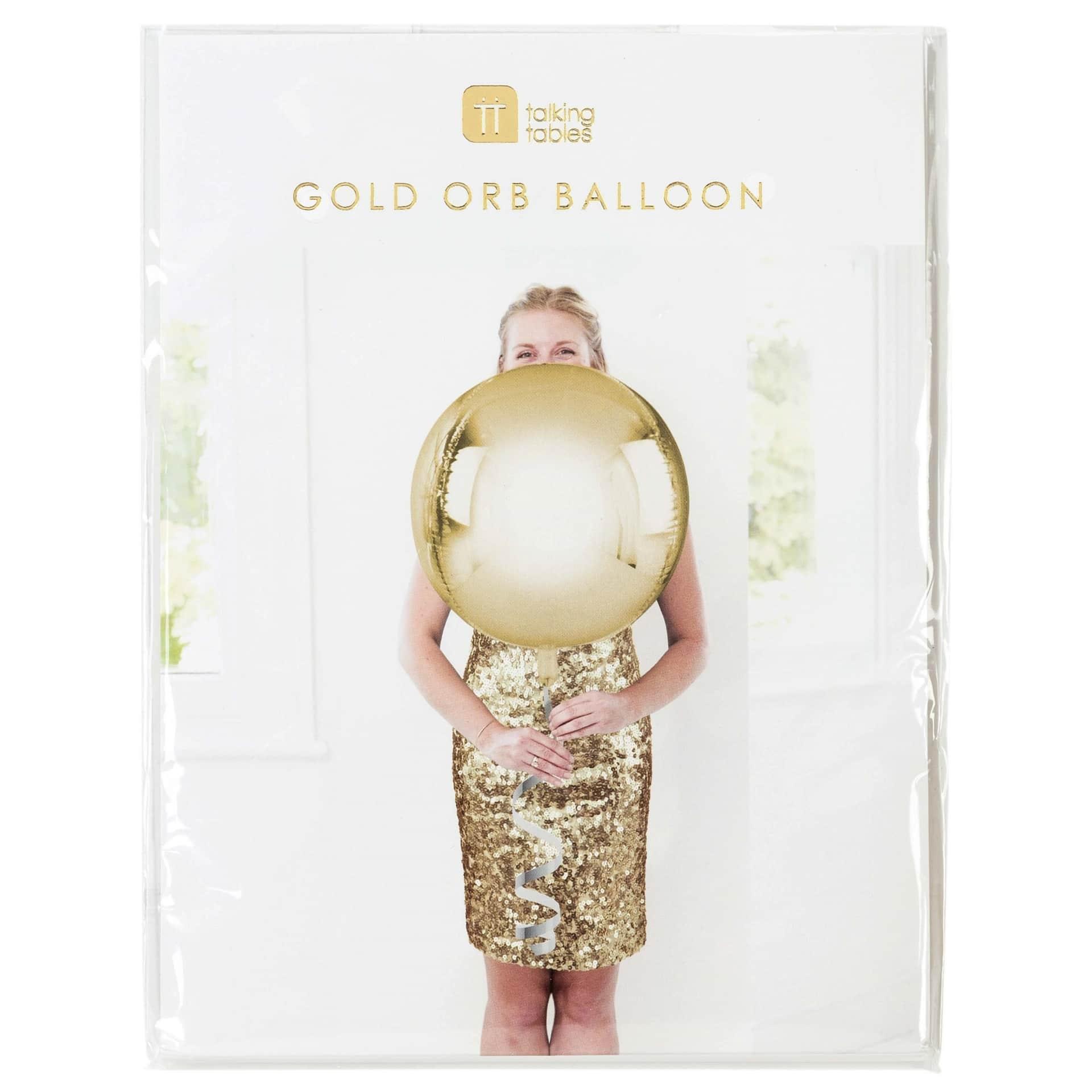 Talking Tables Nafukovací balón Gold ⌀ 38 cm, zlatá barva, plast