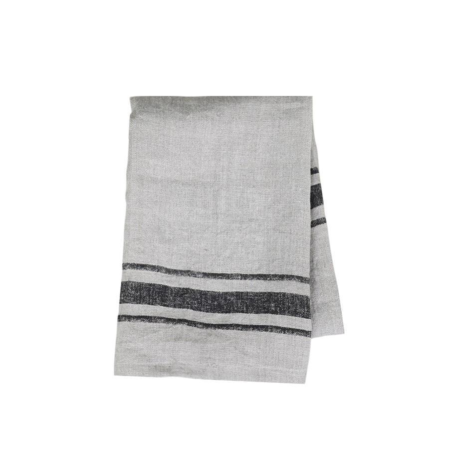 Chic Antique Lněná utěrka Barchant Stripe, černá barva, krémová barva, textil