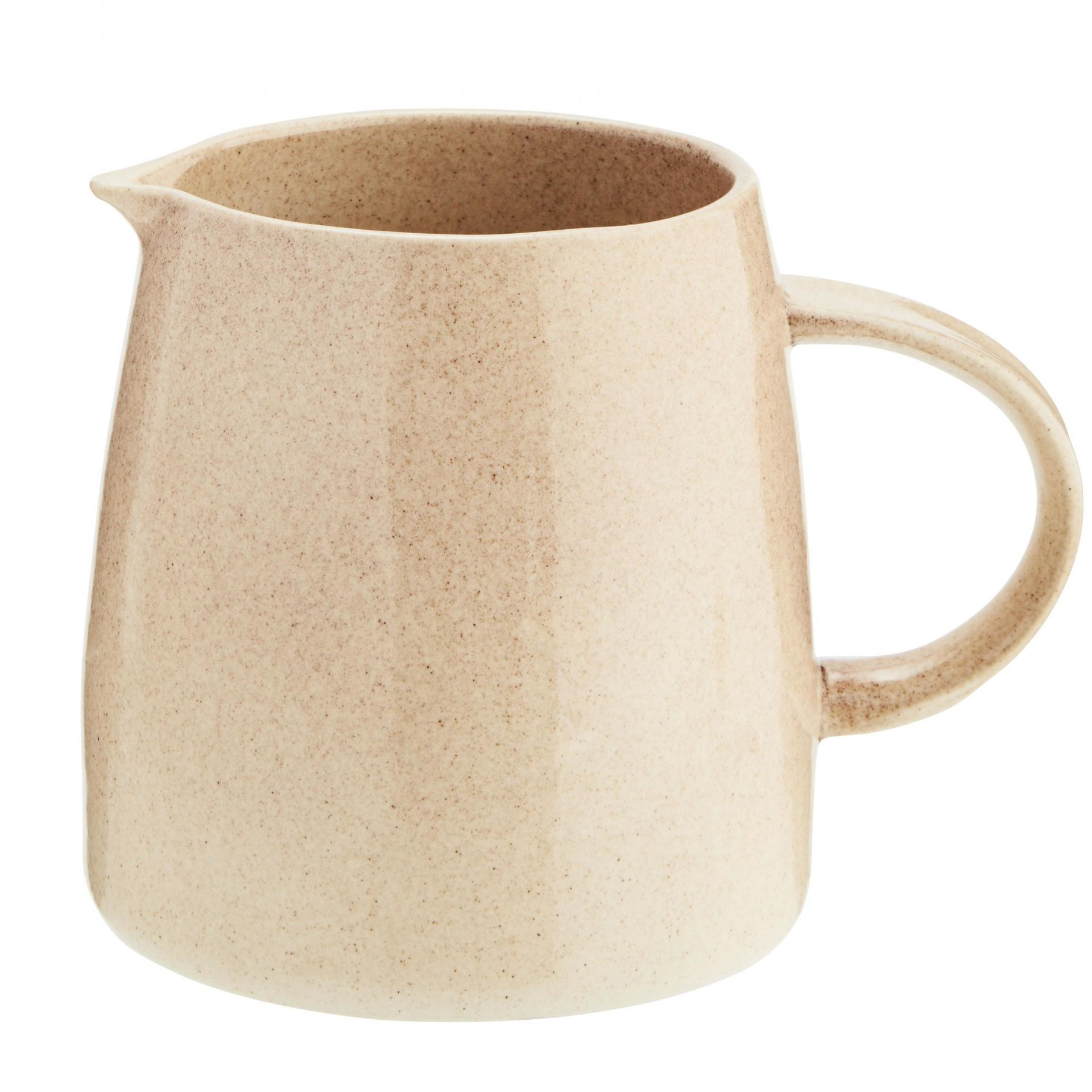 MADAM STOLTZ Kameninový džbán Powder, béžová barva, krémová barva, keramika