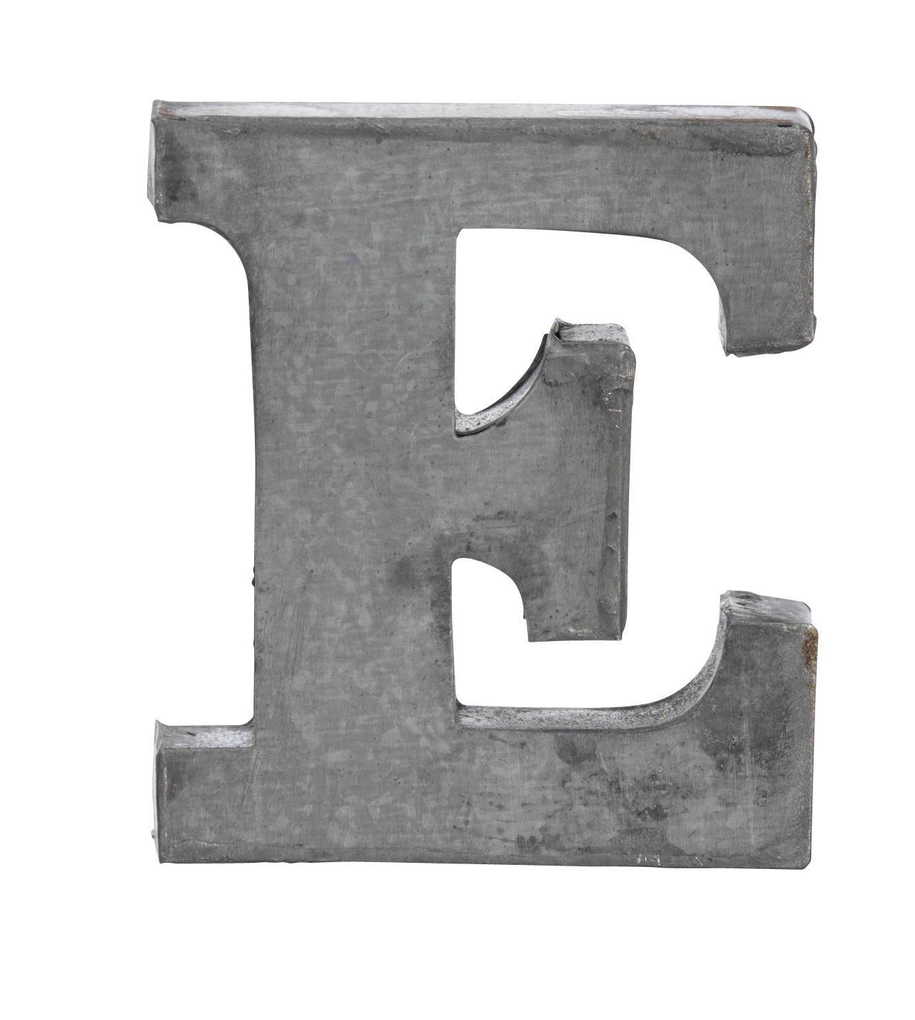 MADAM STOLTZ Plechové písmeno E, 6 cm, šedá barva, zinek