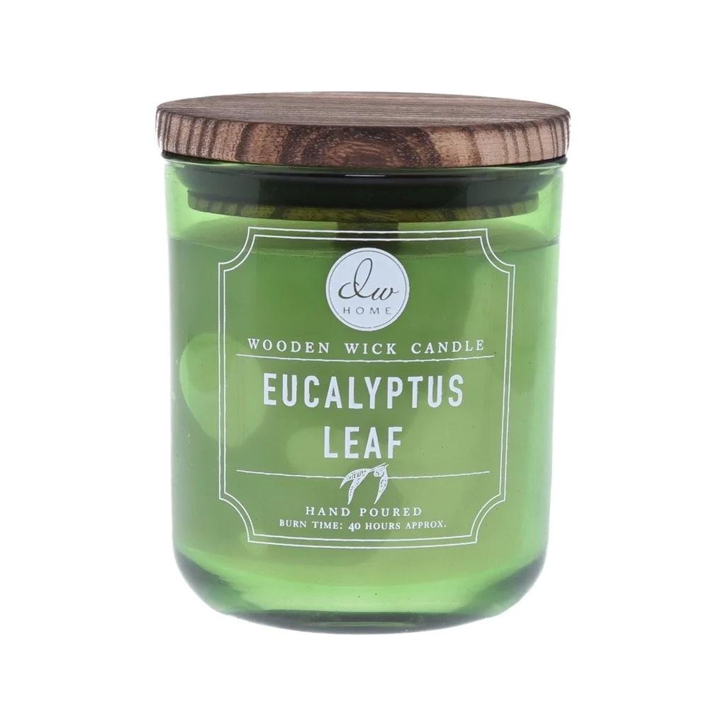 dw HOME Svíčka DW Home - Eucalyptus Leaf 320g, zelená barva, sklo, dřevo