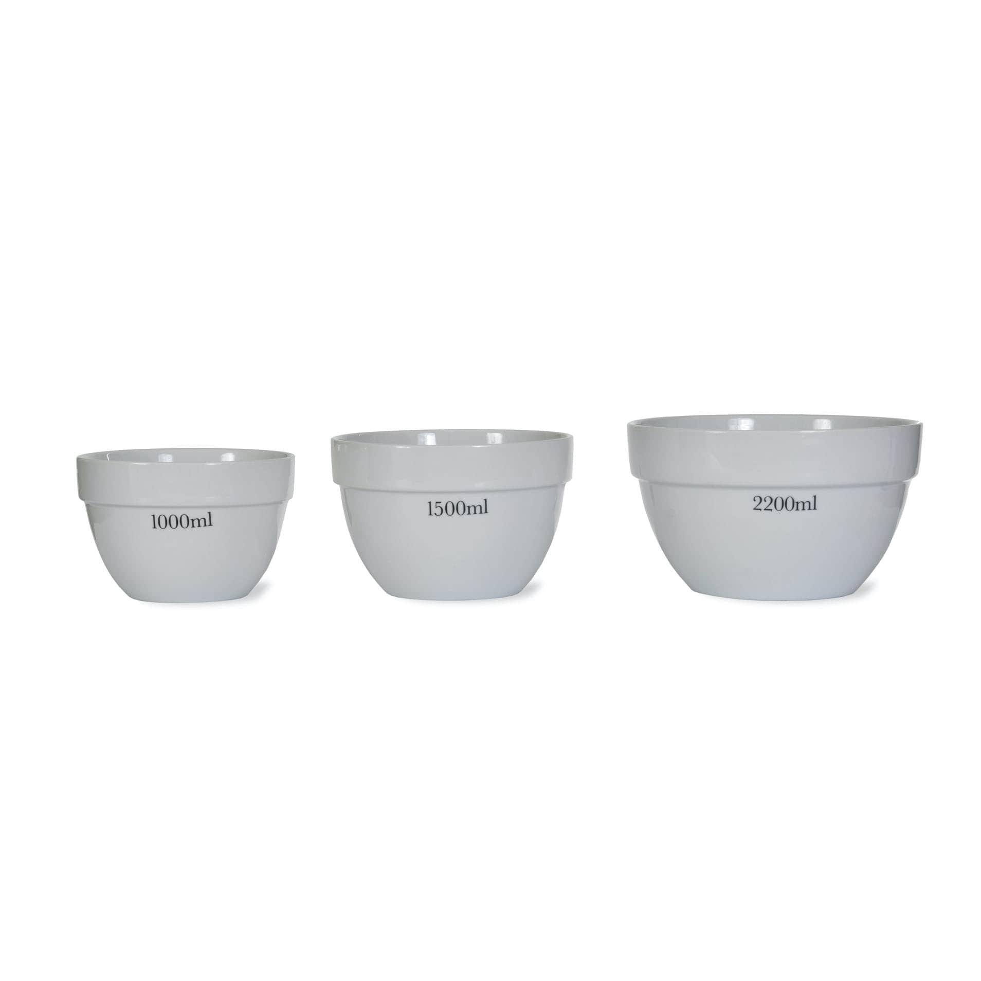 Garden Trading Porcelánová mísa s odměrkou Rialto - set 3 ks, bílá barva, porcelán