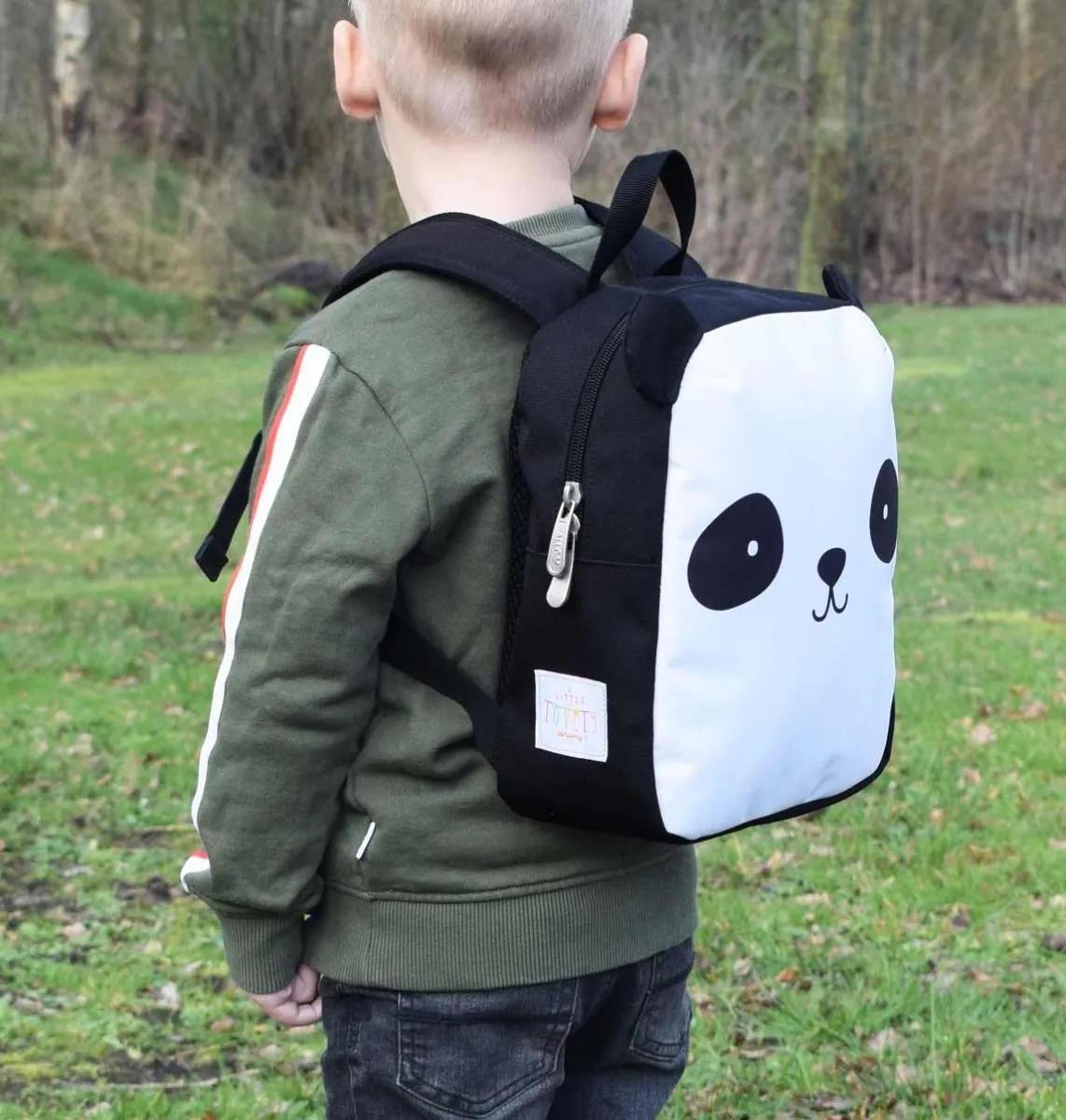 A Little Lovely Company Dětský batoh Panda, černá barva, bílá barva, textil