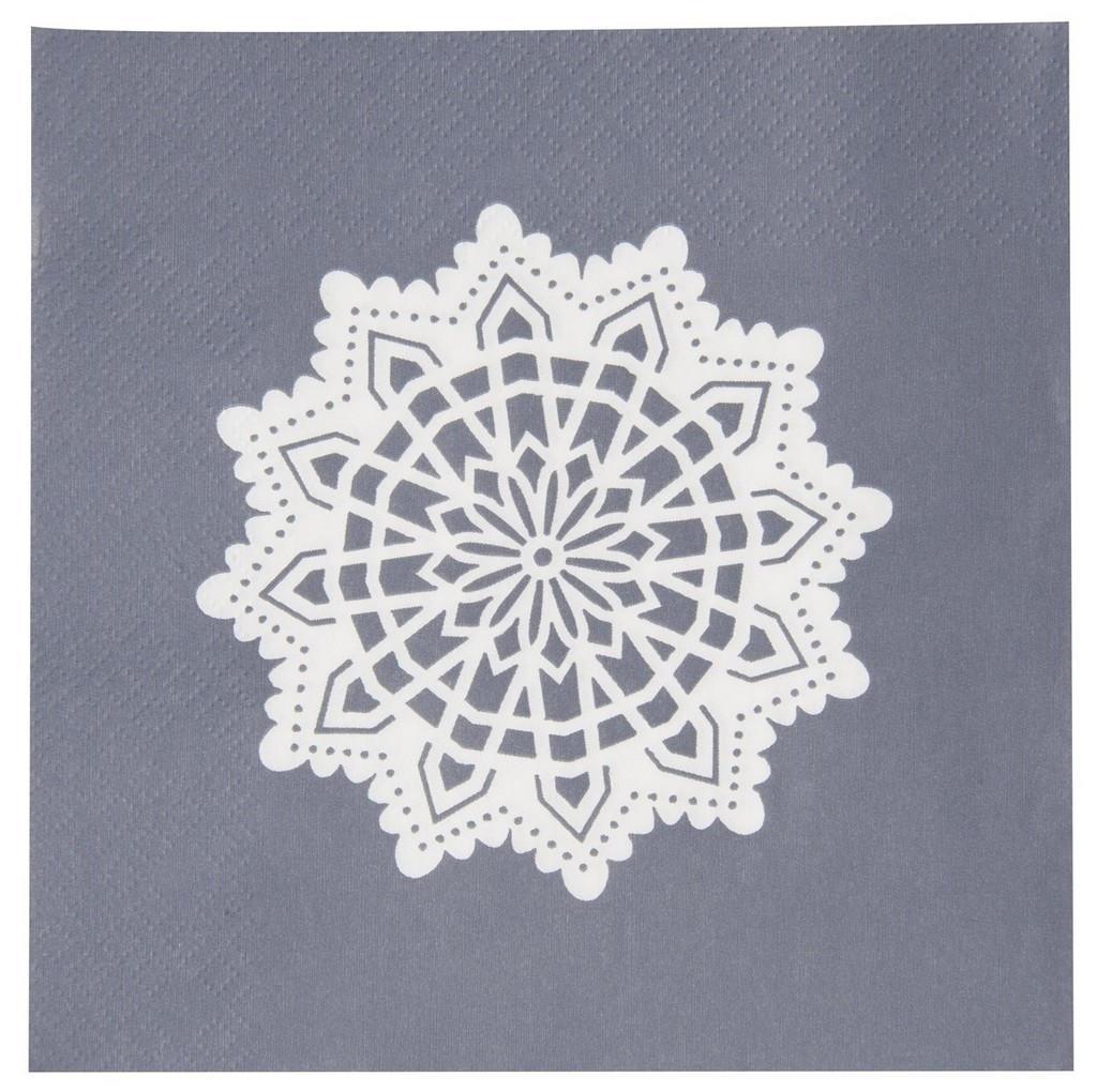 IB LAURSEN Papírové ubrousky Big Snowflake, šedá barva, bílá barva, papír