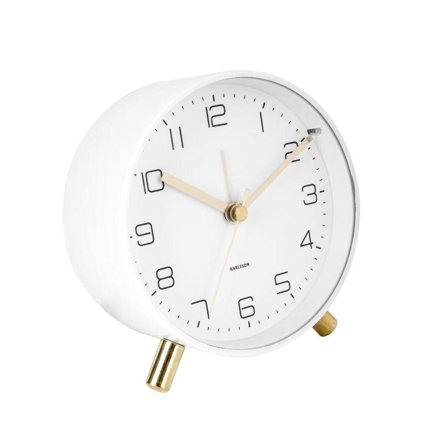 Karlsson Designový budík Lofty White/Gold, bílá barva, zlatá barva, sklo, kov - Karlsson 5752WH