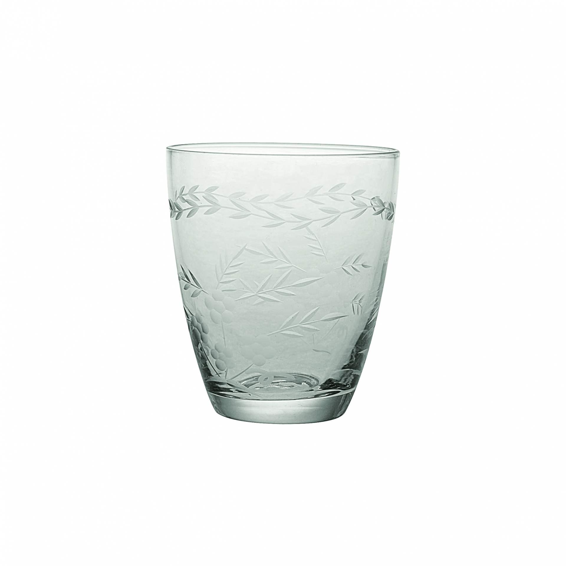 GREEN GATE Broušená sklenička Clear, čirá barva, sklo