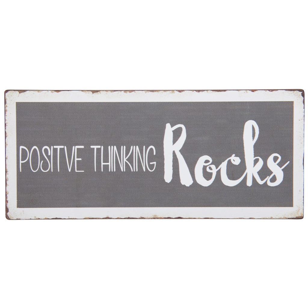 IB LAURSEN Plechová cedule Positive Thinking Rocks, šedá barva, kov