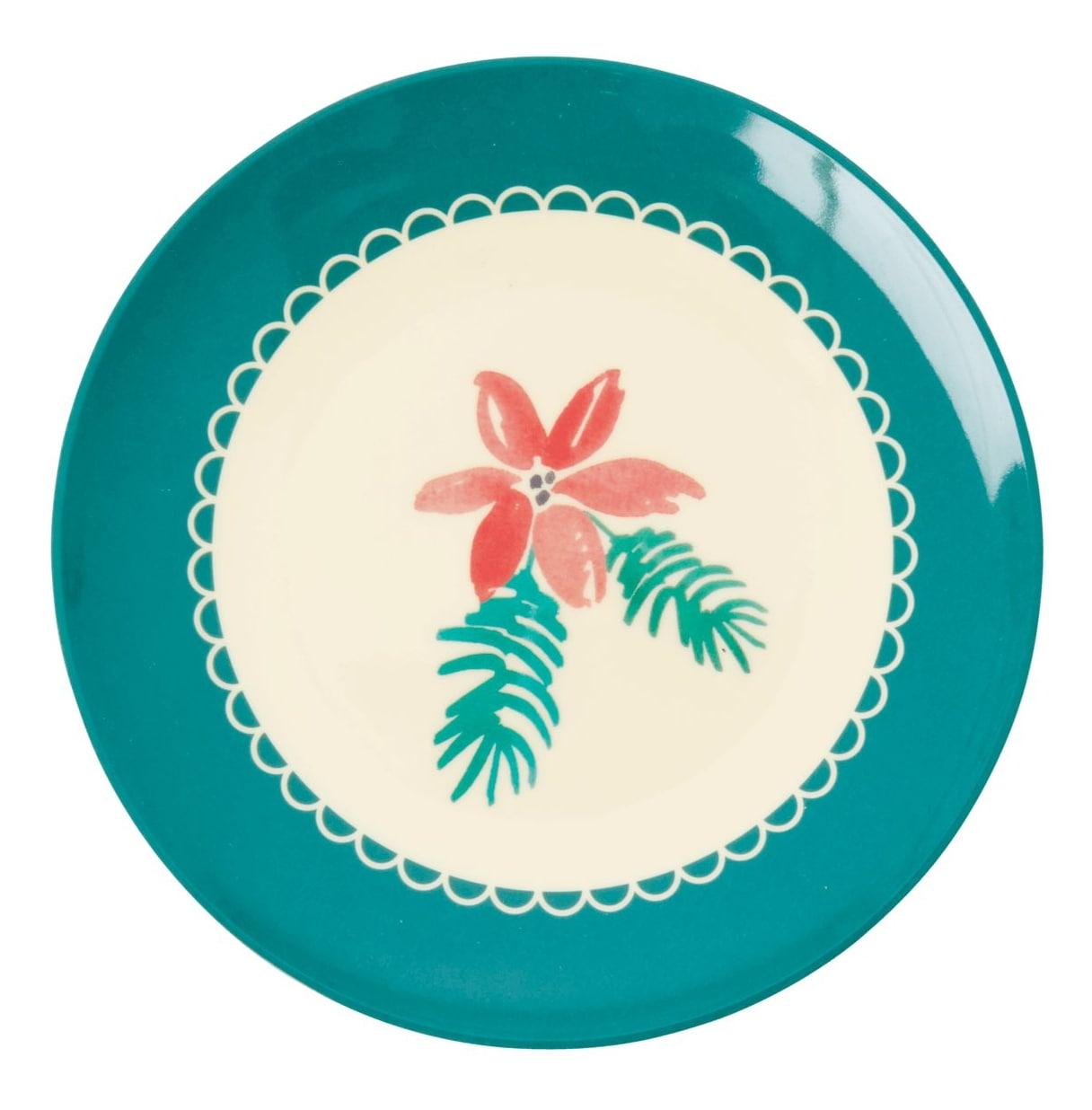 rice Melaminový talířek Poinsettia 16 cm, zelená barva, krémová barva, melamin