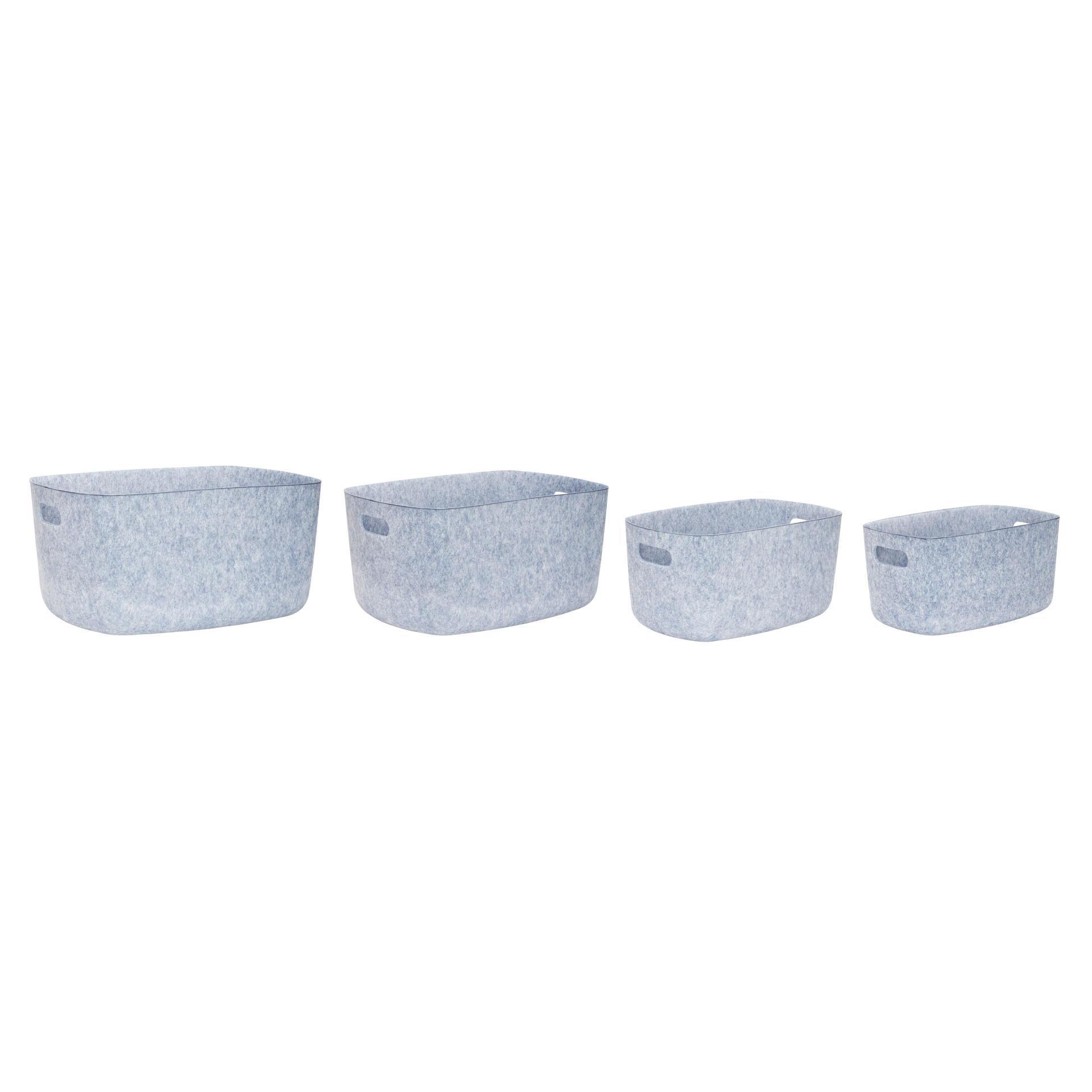 Hübsch Úložný box Felt Bue Varianta L, modrá barva, šedá barva, plast, textil