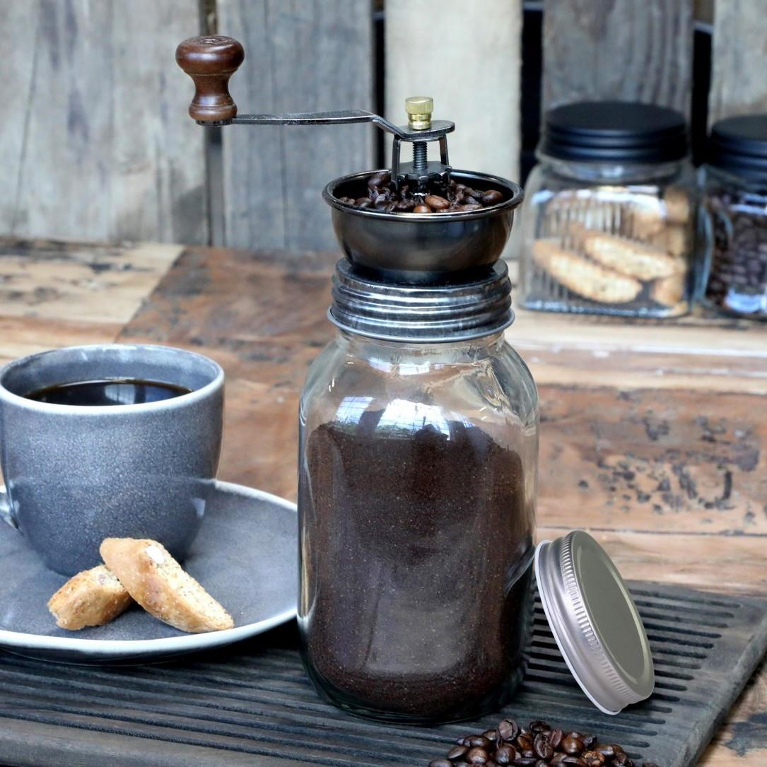 Chic Antique Ruční mlýnek na kávu Glass, hnědá barva, čirá barva, sklo, dřevo, kov