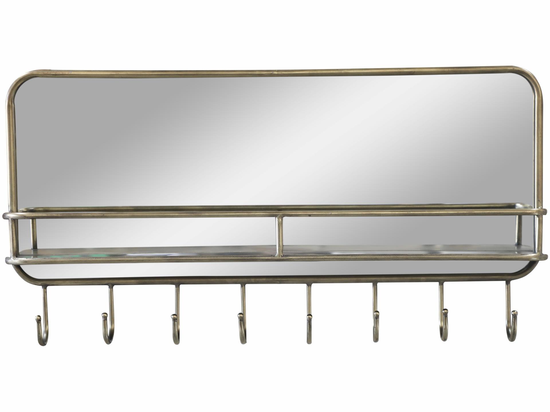 Chic Antique Zrcadlo s poličkou a háčky Antique Brass, šedá barva, sklo, kov - Chic Antique Lucerna s časovačem Lantern Antique 32cm, černá barva, měděná barva, sklo, kov