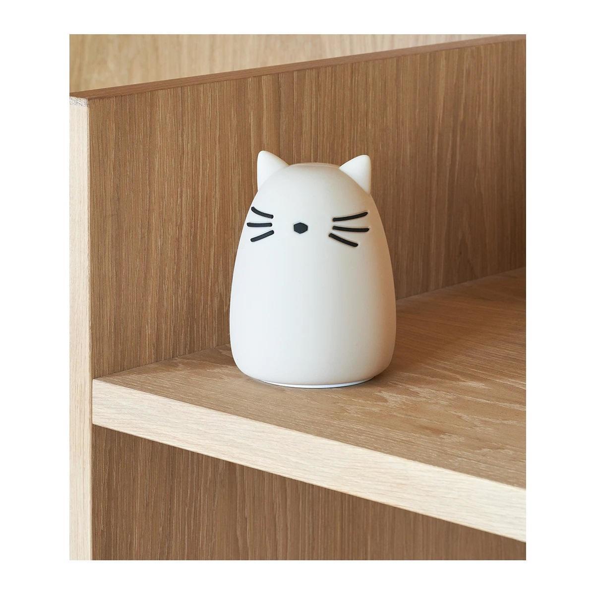 LIEWOOD Dětská noční lampička Winston Cat Sandy, krémová barva