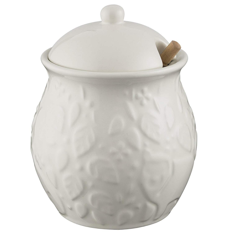 Mason Cash Kameninová nádoba na med In the Forest White, bílá barva, keramika