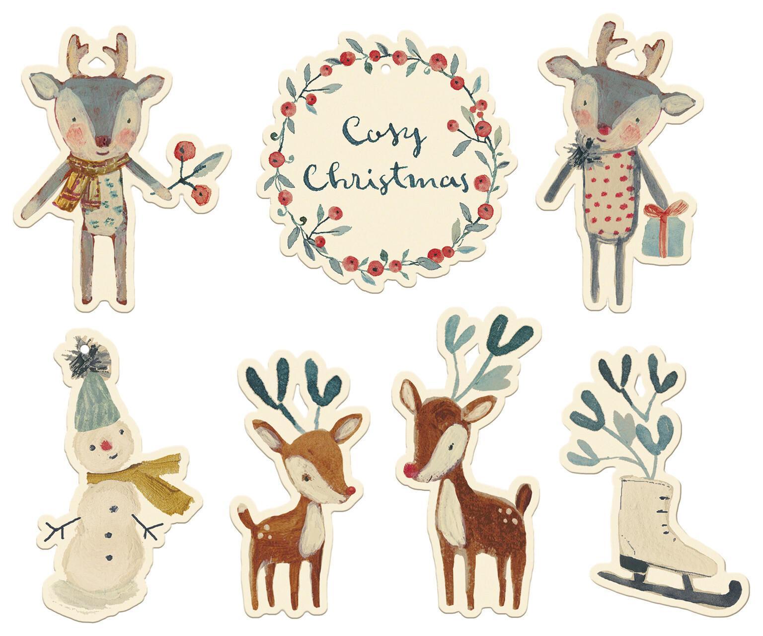 Maileg Vánoční štítky na dárky Cosy Christmas - 14 ks, bílá barva, multi barva, papír