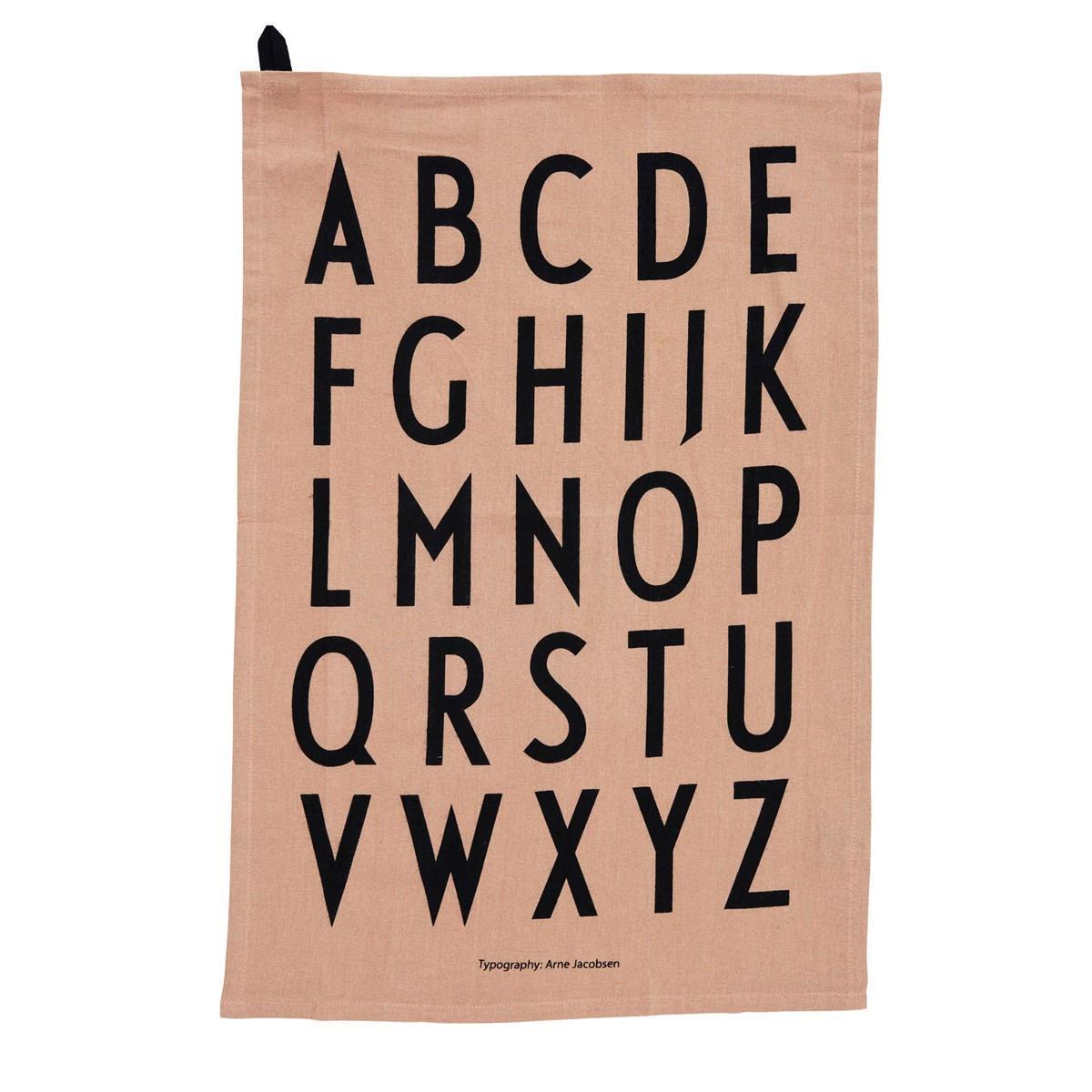 DESIGN LETTERS Bavlněná utěrka Letters (limitovaná edice) - set 2ks, růžová barva, oranžová barva, béžová barva, textil
