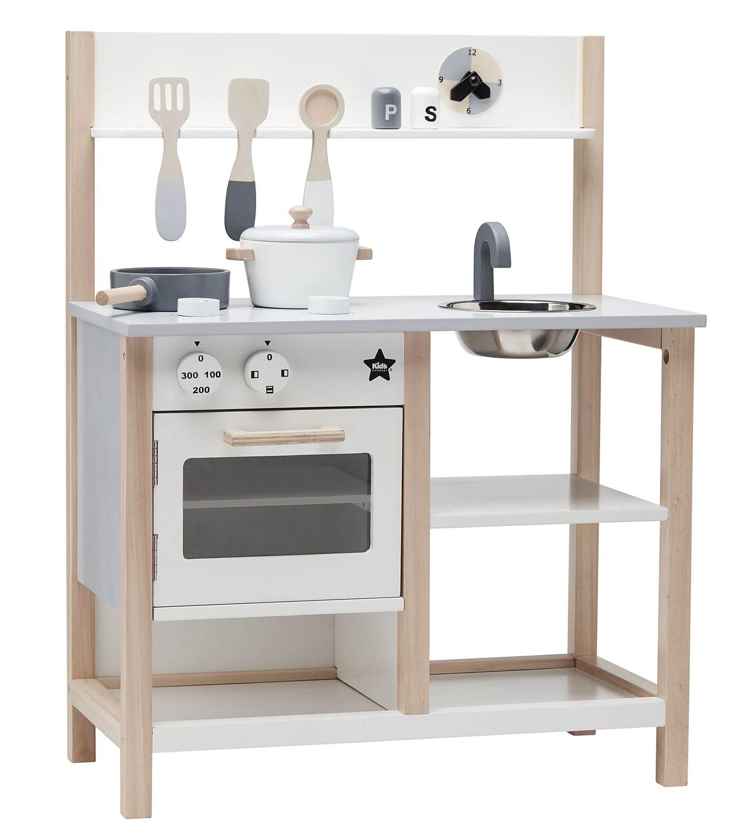 Kids Concept Dřevěná kuchyňka na hraní Natural White Bistro, bílá barva, přírodní barva, dřevo