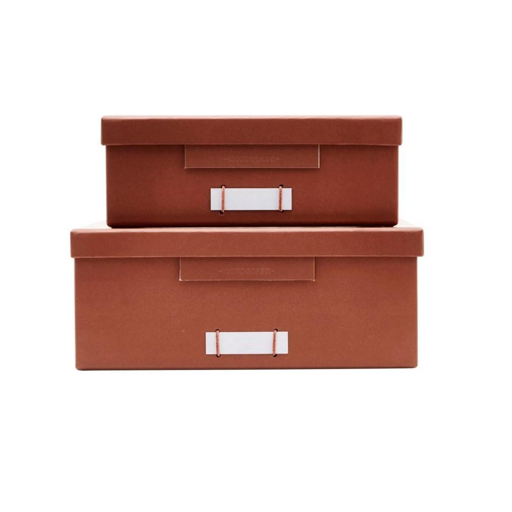 MONOGRAPH Papírový box na dokumenty Cognac Menší, oranžová barva, hnědá barva, papír