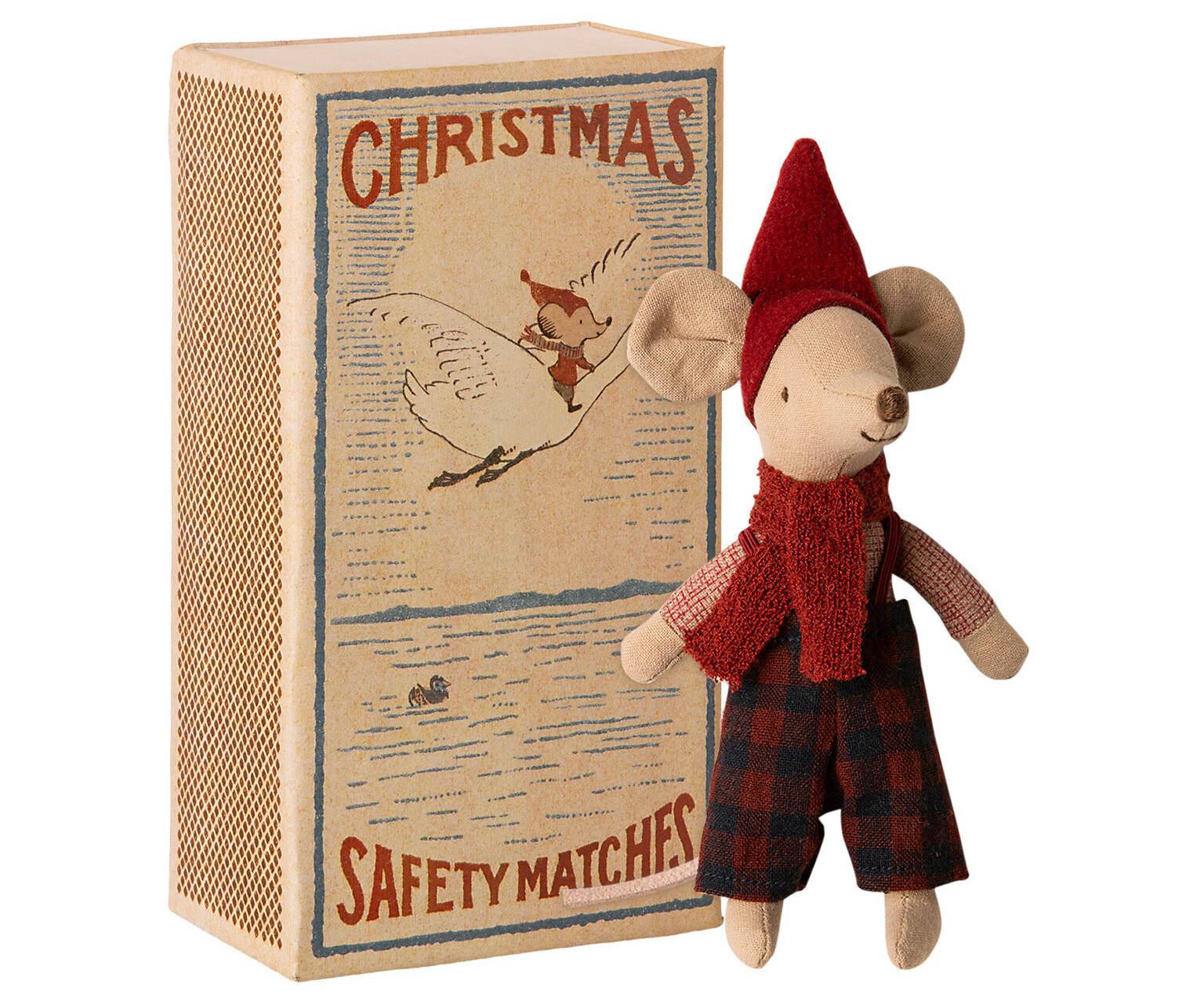 Maileg Vánoční myšák v krabičce od sirek Big brother, červená barva, béžová barva, papír, textil