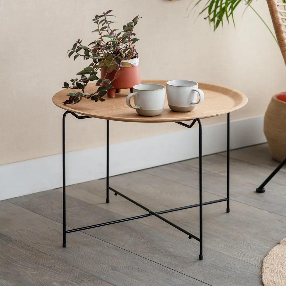 Garden Trading Odkládací stolek Mayfield, černá barva, přírodní barva, dřevo, kov