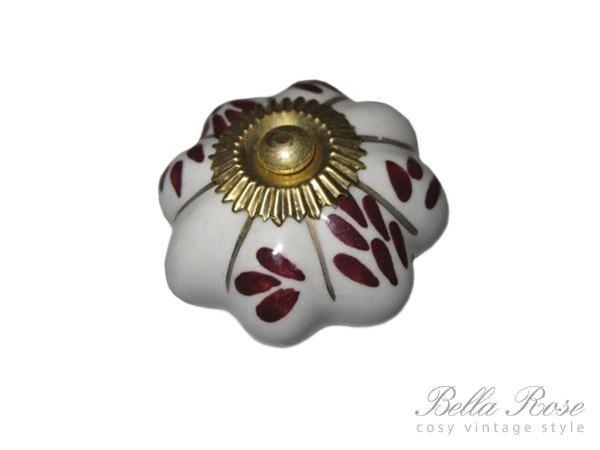 La finesse Porcelánová úchytka Flower/gold stripe, hnědá barva, porcelán