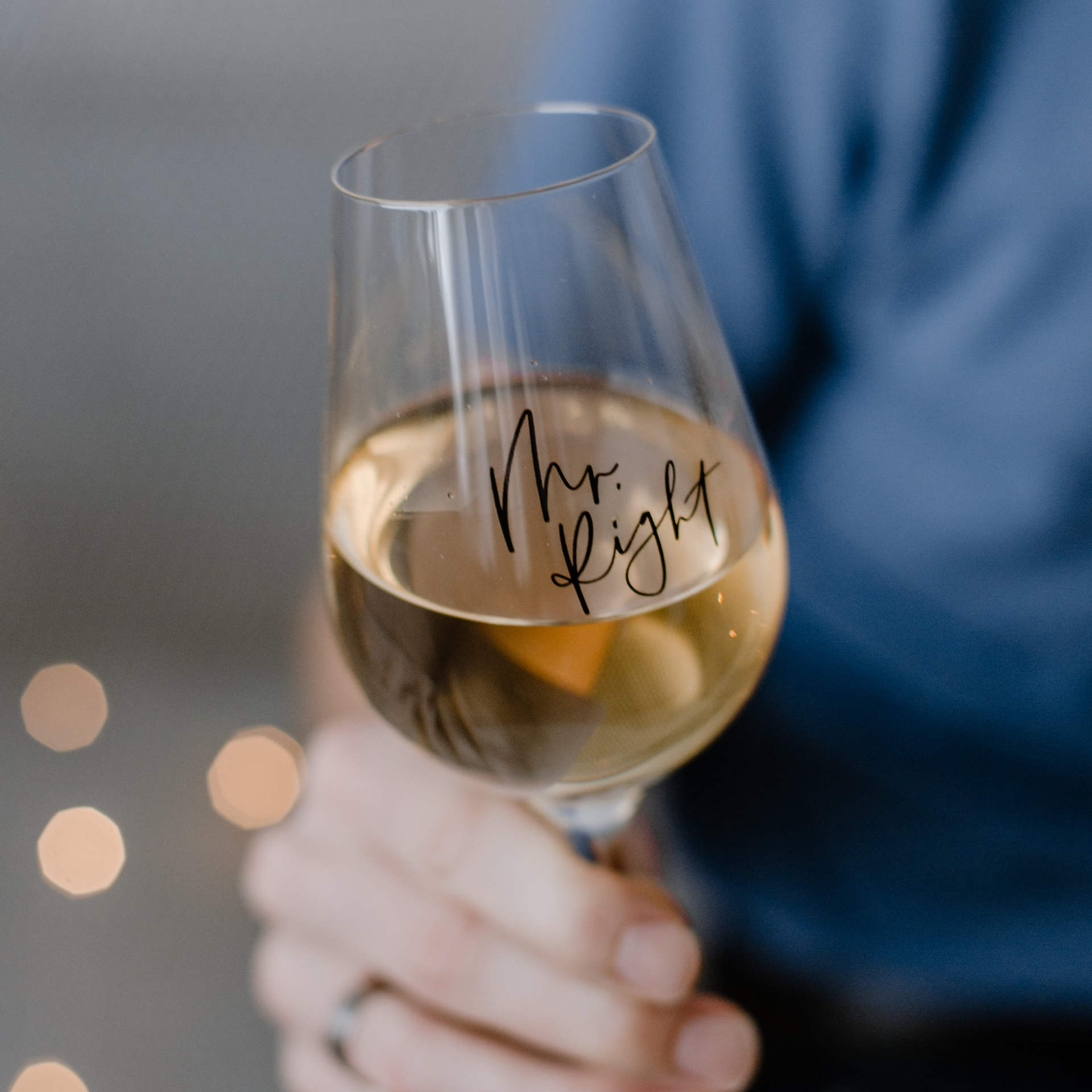Bella Rose Sklenice na víno Mr. Right, čirá barva, sklo