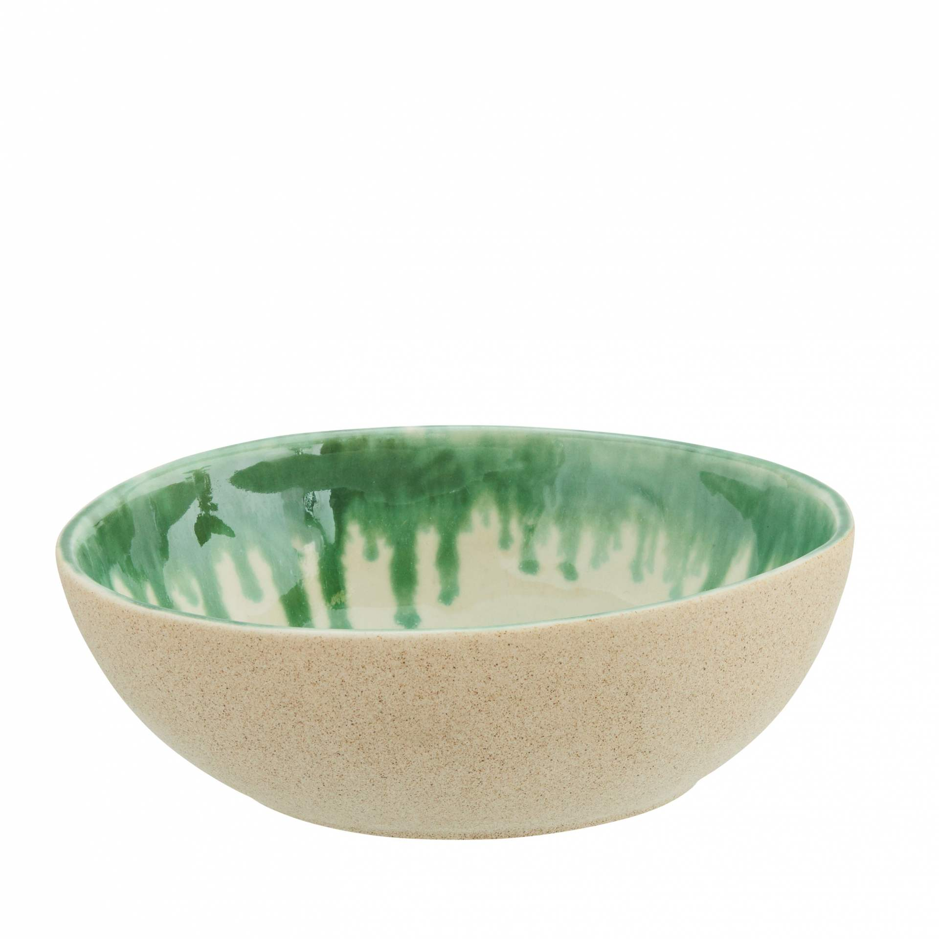 MADAM STOLTZ Kameninová miska Oval, zelená barva, bílá barva