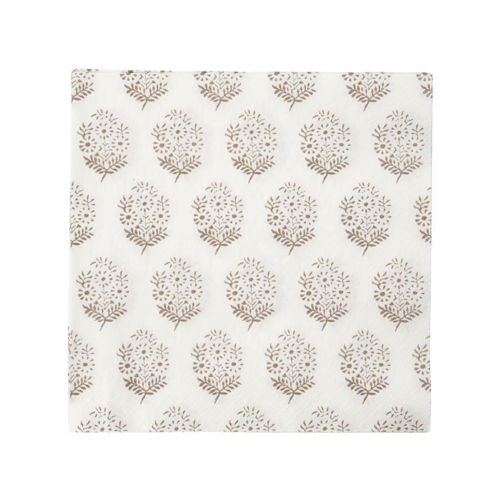 House Doctor Papírové ubrousky Bouquet 40ks, béžová barva, bílá barva, hnědá barva, papír