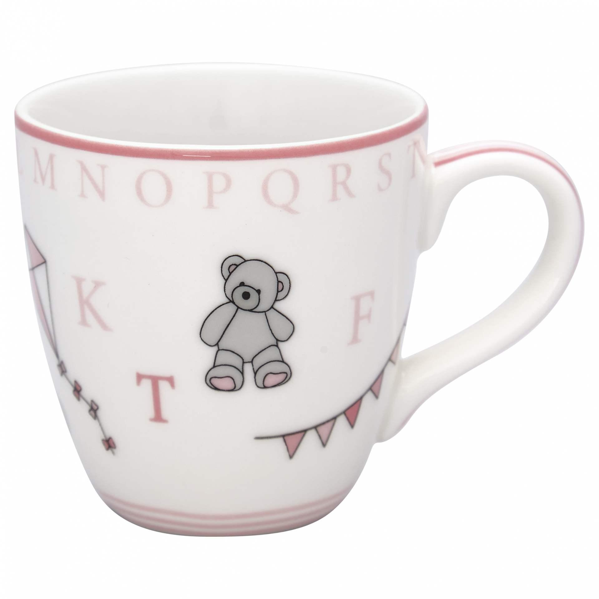 GREEN GATE Dětský porcelánový hrnek Charlie Pink, růžová barva, bílá barva, porcelán