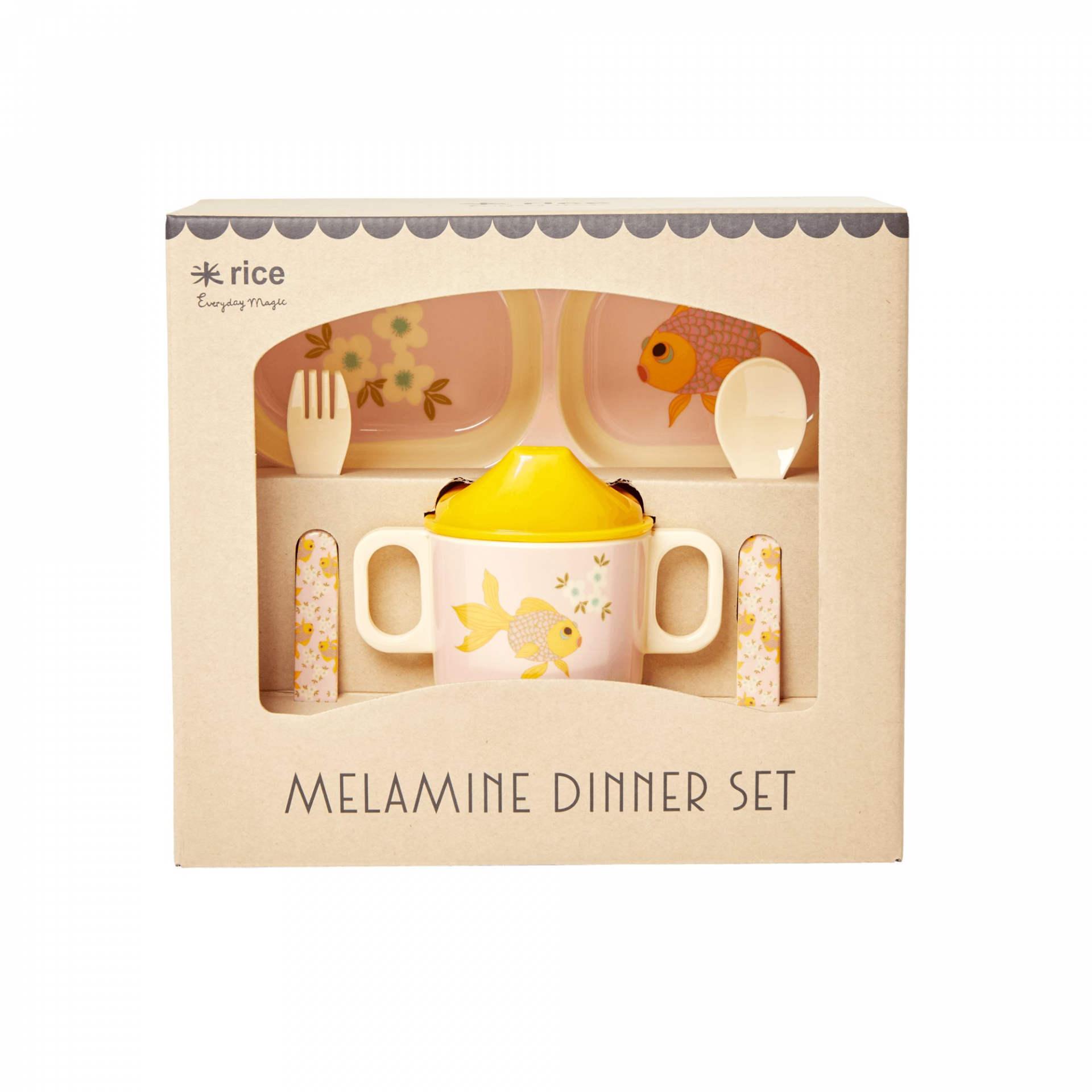 rice Set melaminového nádobí pro děti Goldfish Print, žlutá barva, melamin