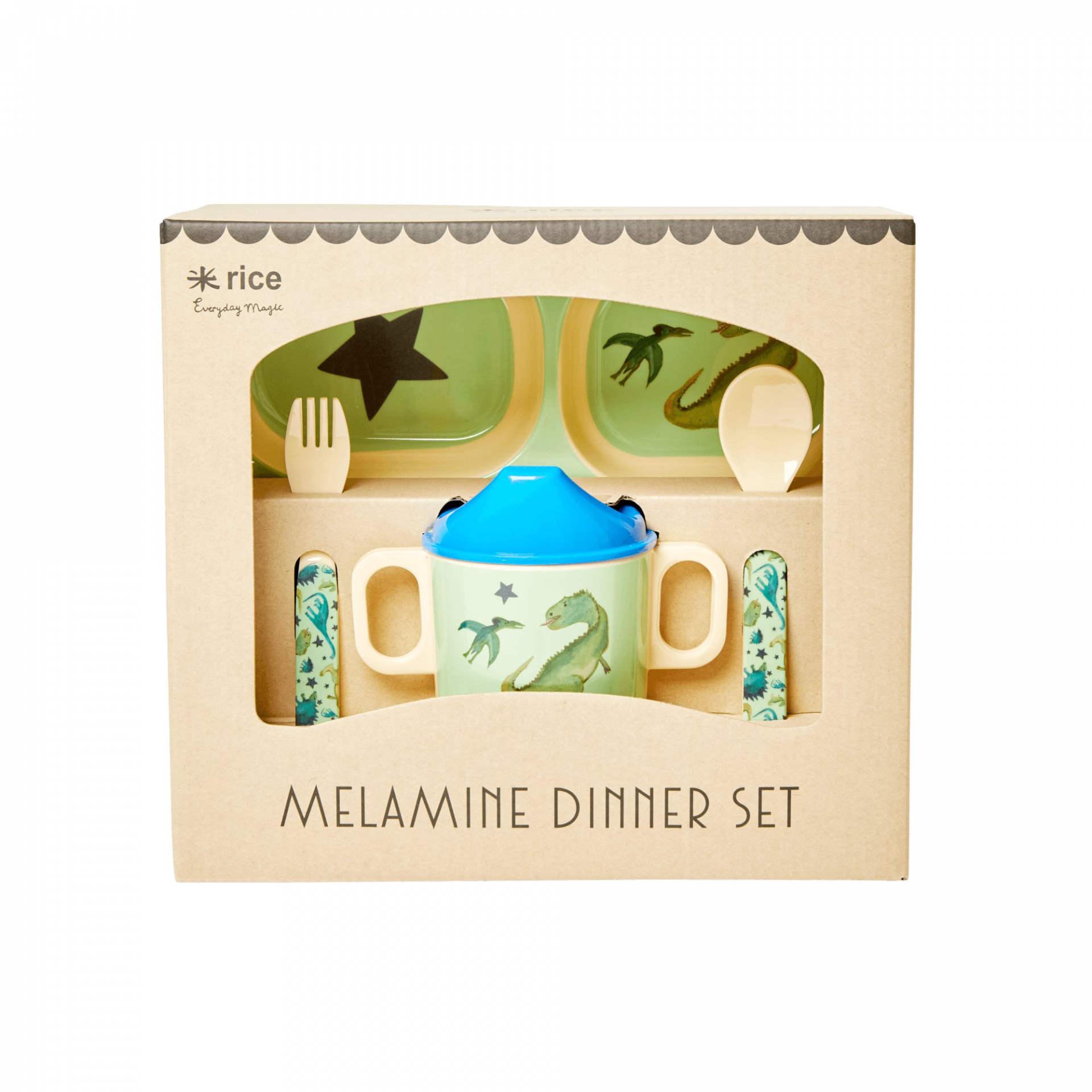 rice Set melaminového nádobí pro děti Dinosaurs Print, modrá barva, zelená barva, melamin