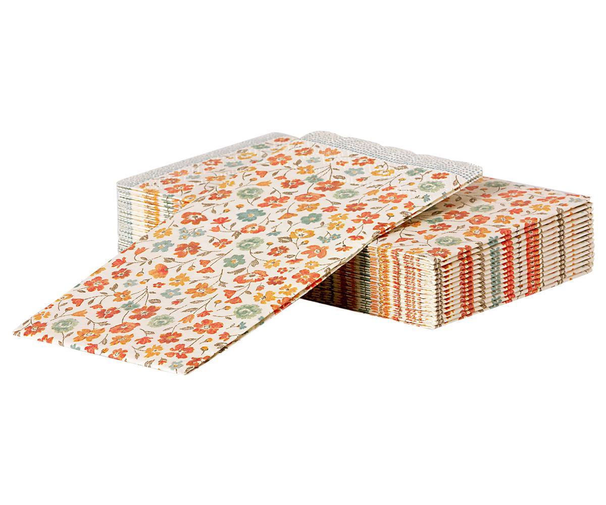 Maileg Papírové ubrousky Spring Flowers - 16 ks, červená barva, oranžová barva, bílá barva, papír