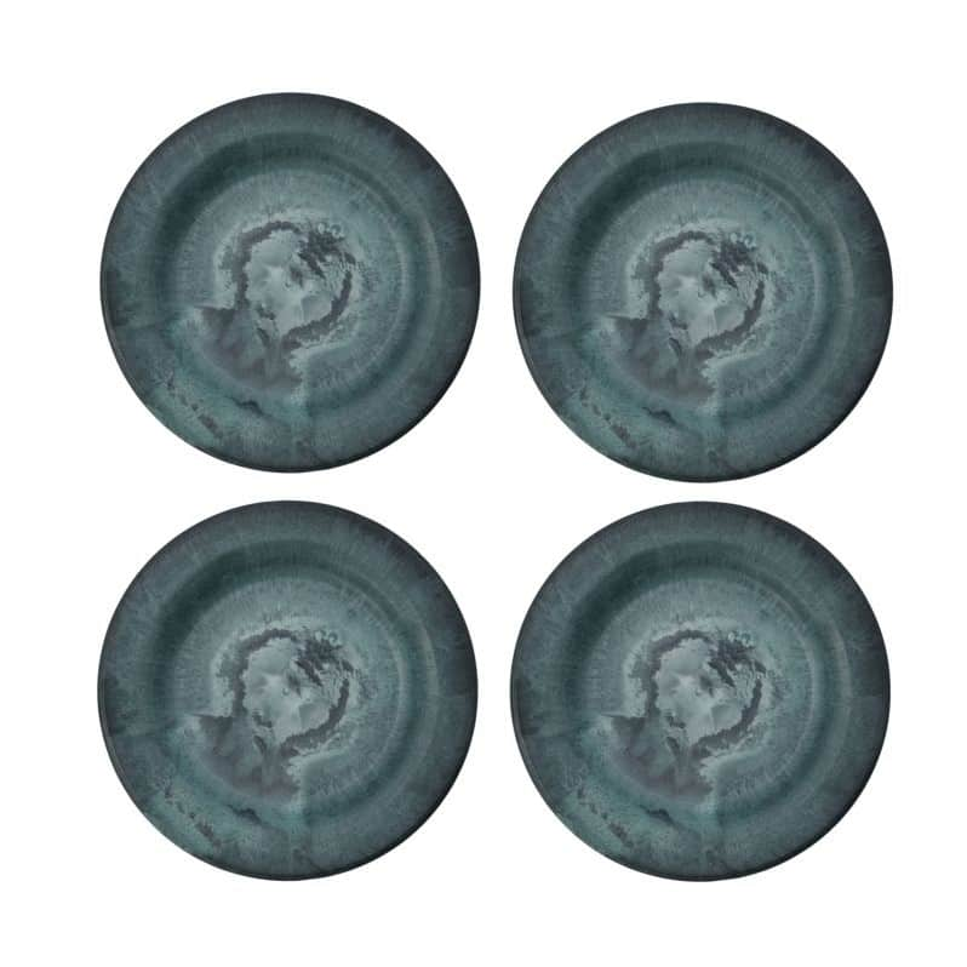 House Doctor Sada talířů Artstone Smaragd - 4 ks, modrá barva, zelená barva, plast