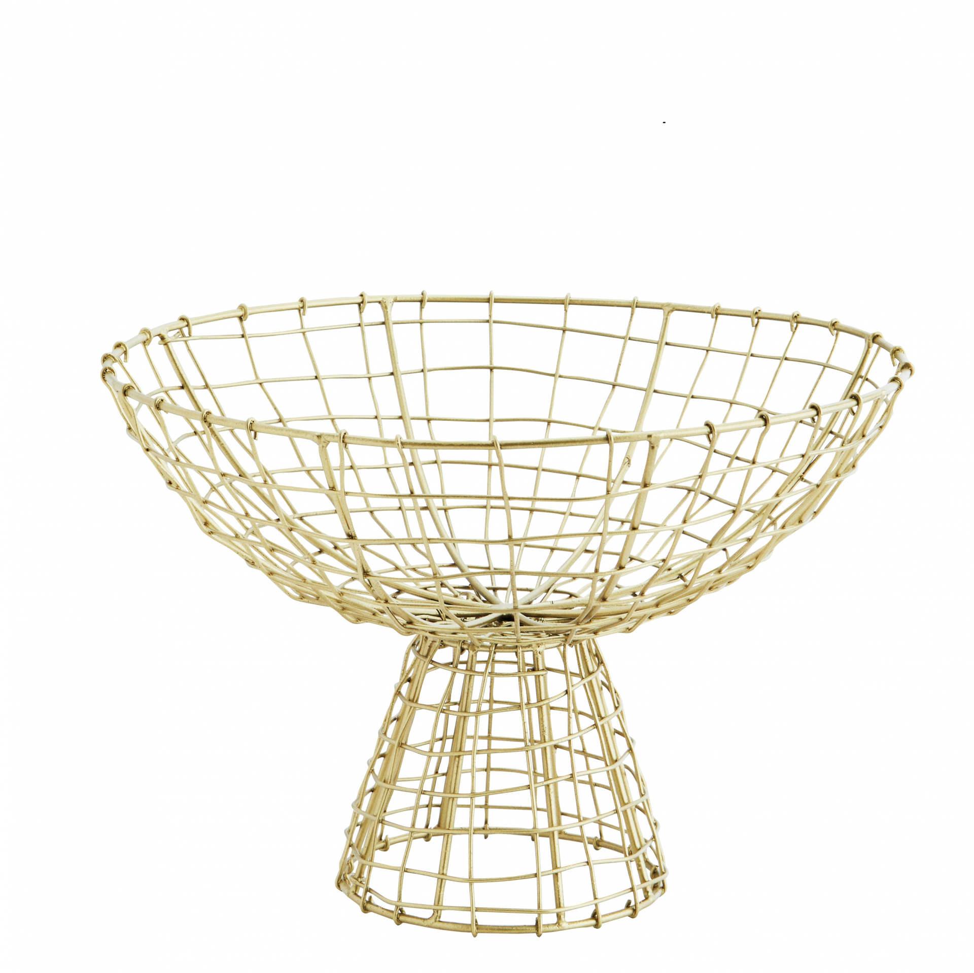 MADAM STOLTZ Drátený košík na nožce Wire Antique Brass, zlatá barva, kov