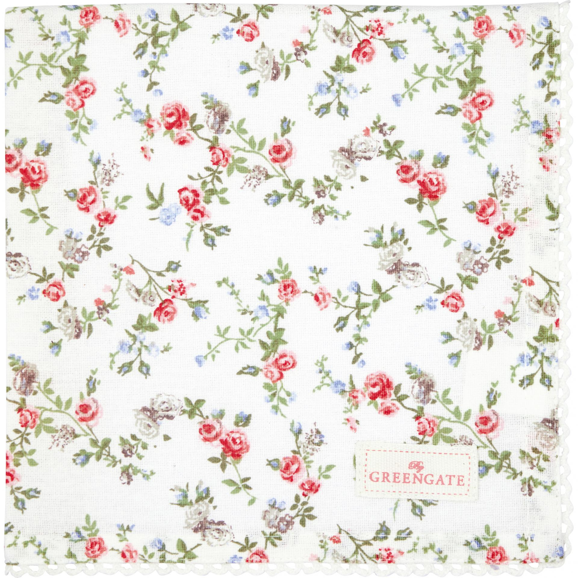 GREEN GATE Bavlněný ubrousek Carly White 40x40cm, růžová barva, zelená barva, bílá barva, krémová barva, textil