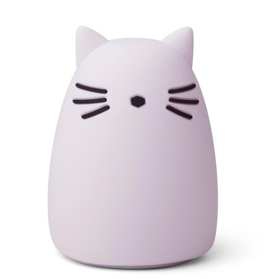 LIEWOOD Dětská noční lampička Winston Cat Light Lavender, fialová barva, plast