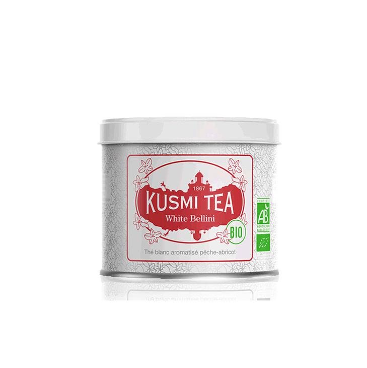 KUSMI TEA Sypaný bílý čaj Kusmi Tea - White Bellini 90g, červená barva, bílá barva, kov