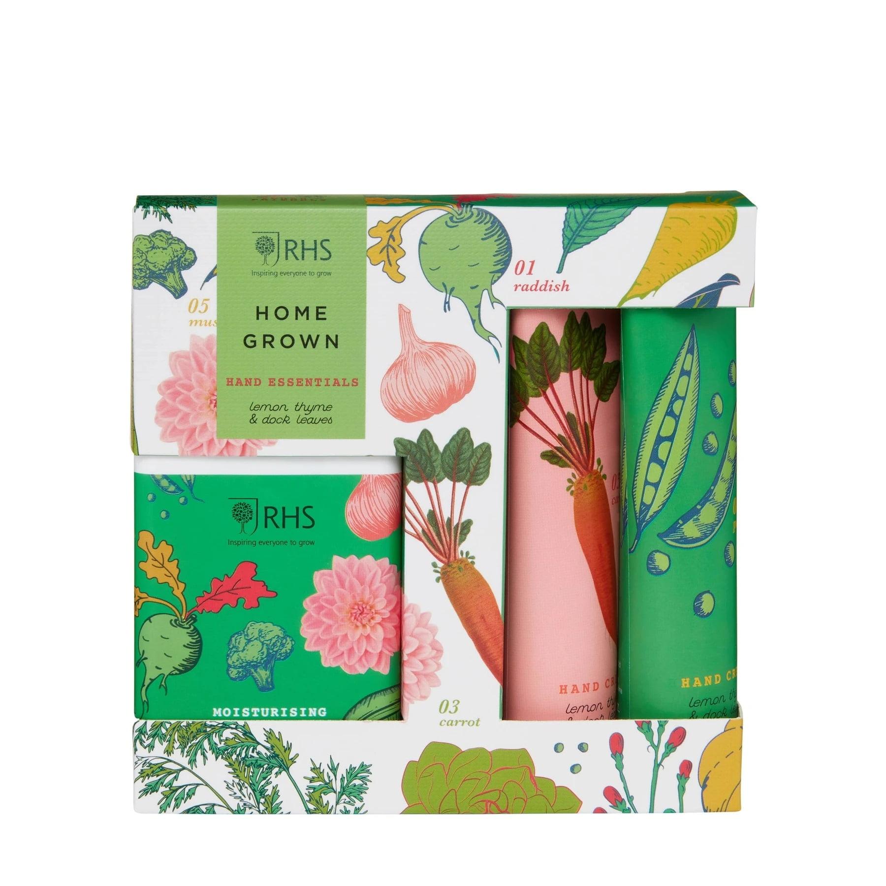HEATHCOTE & IVORY Dárková sada péče o ruce Home Grown - Set 3 ks, zelená barva, plast, papír