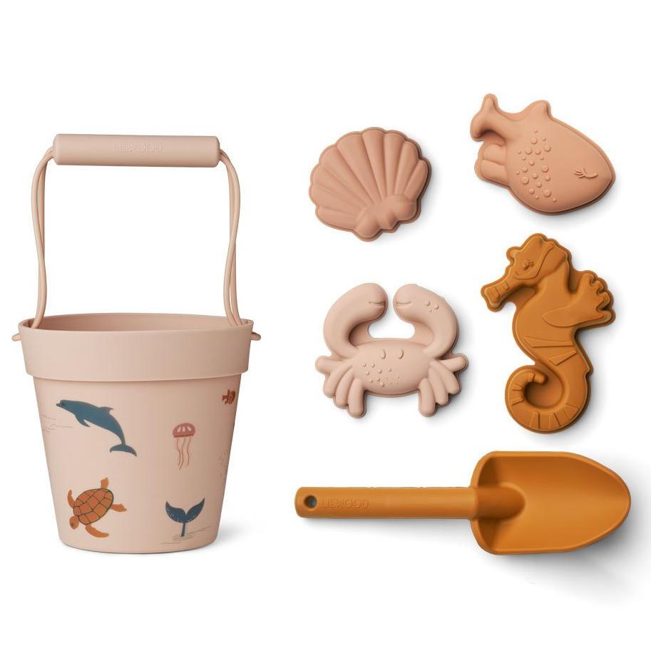 LIEWOOD Hračky na písek Dante Beach Set Sea Creature Rose, růžová barva, hnědá barva