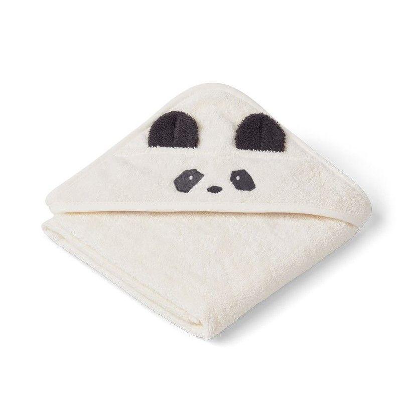 LIEWOOD Dětská osuška s kapucí Albert Panda Creme de la creme, bílá barva, textil