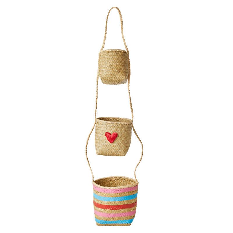 rice Závěsné úložné košíky Raffia Multicolor - set 3 ks, multi barva, přírodní barva